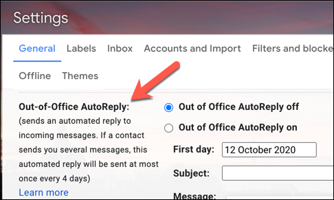 """The Gmail Vacation Responder settings area, labelled """"Out of Office AutoReply"""" in a UK Gmail account"""