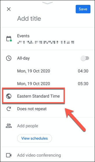 Tap the time zone listed in the event details menu to change the time zone for that event.