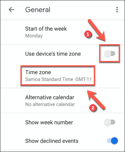 """Tap the """"Use Device's Time Zone"""" slider to the off position, then click the """"Time Zone"""" option beneath."""