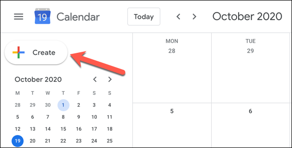 """In the Google Calendar web interface, click the """"Create"""" button in the top-left"""