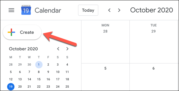 "In the Google Calendar web interface, click the ""Create"" button in the top-left"