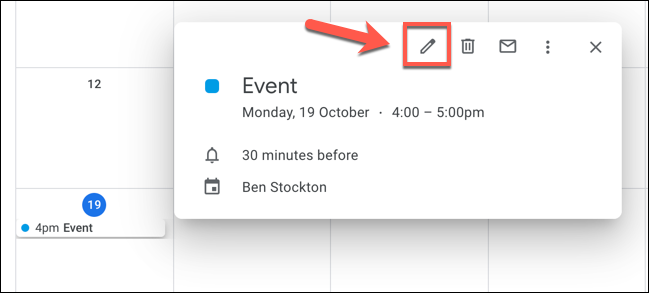 """Click on an event in Google Calendar, then click the """"Edit Event"""" button to begin editing it."""