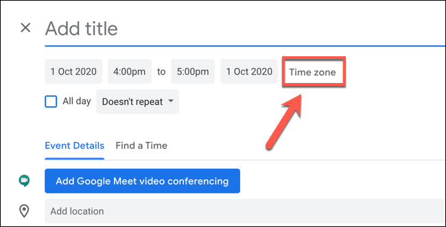 """Click """"Time Zone"""" to edit the time zone settings for the Google Calendar event"""