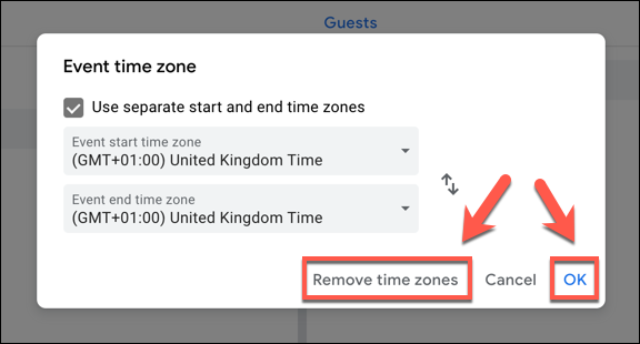 "Click ""Remove Time Zones"" to remove time zones from a Google Calendar event, or ""OK"" to save them."