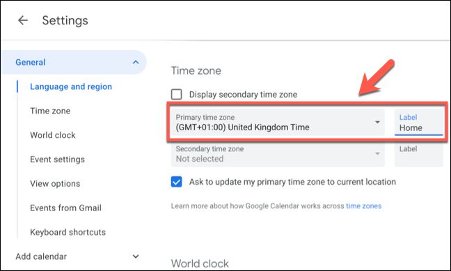 """Select the primary time zone for Google Calendar from the """"Primary Time Zone"""" drop-down menu, then provide a label for the time zone in the """"Label"""" box next to it."""
