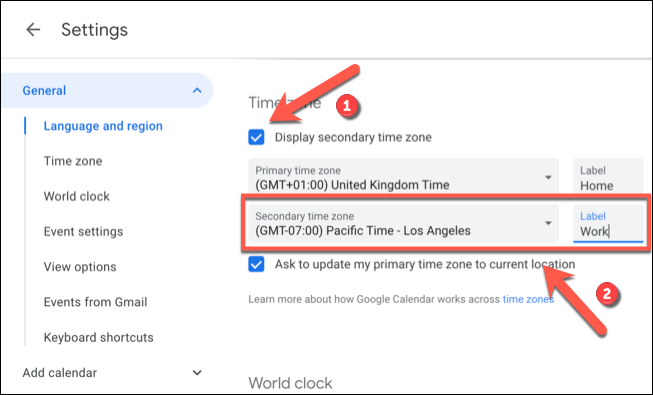 """Click the """"Display Secondary Time Zone"""" check box, then select a secondary time zone from the """"Secondary Time Zone"""" drop-down menu before adding a label to the """"Label"""" box beside it."""