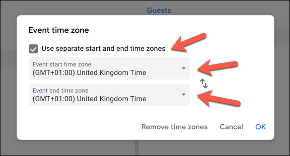 """To add a secondary time zone, click the """"Use separate start and end time zones"""" checkbox. Select a primary (or primary and secondary) time zone from the drop-down menus"""