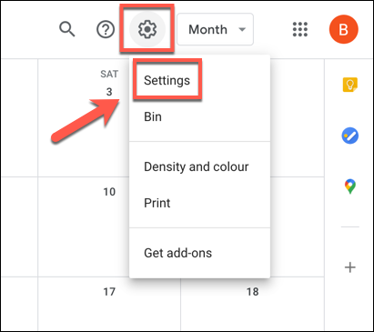 """Click the settings cog icon, then click """"Settings"""" from the drop-down menu."""