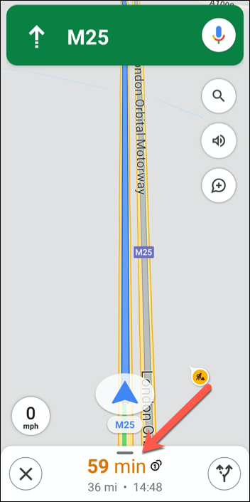 Tap the route information (containing ETAs) at the bottom of the Google Maps navigation interface