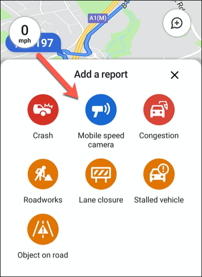Click one of the available traffic report options to add it to your location in Google Maps