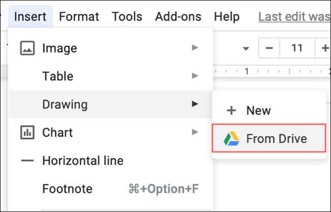 Click Insert, Drawing, From Drive in Google Docs