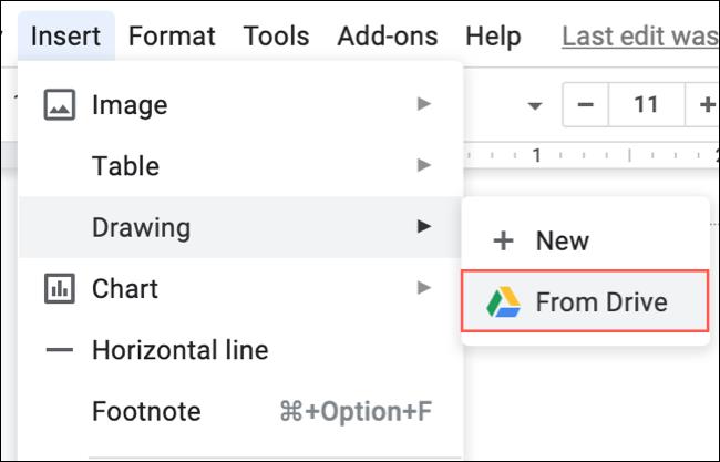 Haga clic en Insertar, Dibujar, Desde Drive en Google Docs