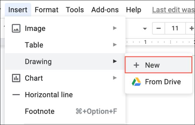 Haga clic en Insertar, Dibujar, Nuevo en Google Docs