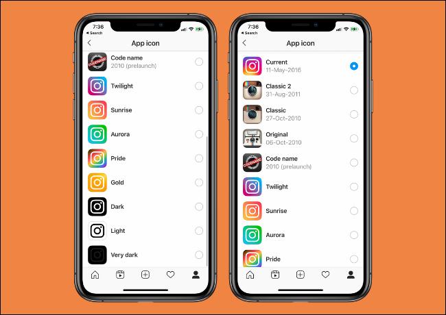 Opciones del icono de la aplicación de Instagram