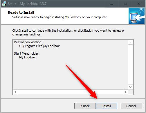 Install button in installation wizard