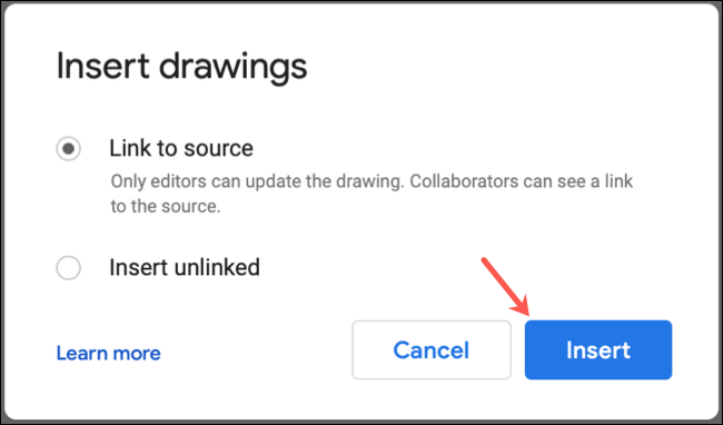 Choose whether to Link a Drawing in Google Docs