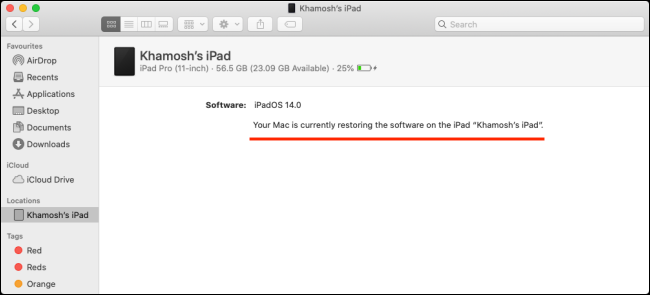 The restore progress bar for an iPad on a Mac.