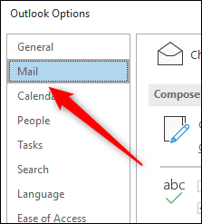 Mail tab in Outlook Options window