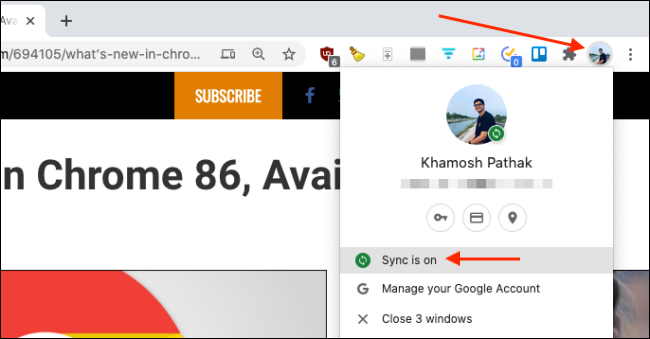 Make Sure Sync Is On for Chrome on Mac