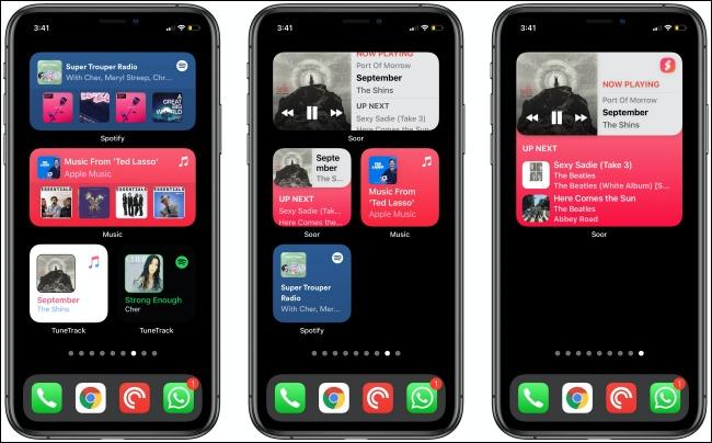 Widget musicali su tre iPhone.