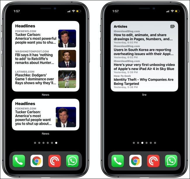 News Widgets on two iPhones.