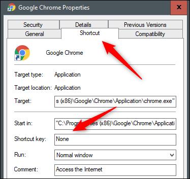 No shortcut key for Google Chrome