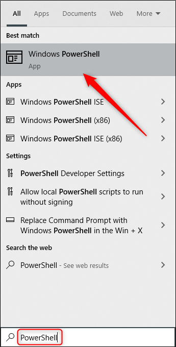 """Type """"PowerShell"""" in the Windows Search box, and then select """"Windows PowerShell"""" from the results."""