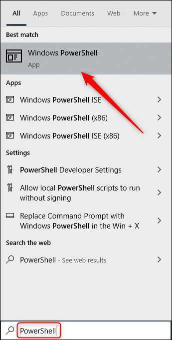 "Type ""PowerShell"" in the Windows Search box, and then select ""Windows PowerShell"" from the results."