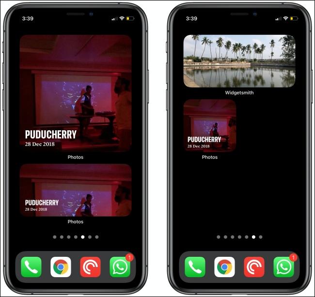 Photos Widgets on two iPhones.