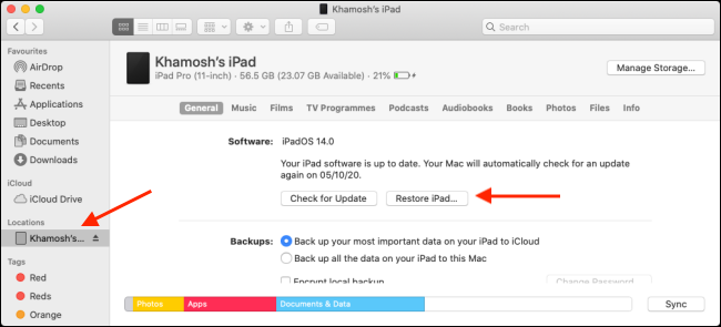 "Click your device in the sidebar, press Option, and then click ""Restore iPad."""