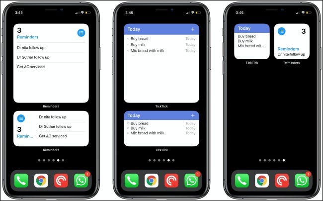 The Reminders and TickTick Widgets on three iPhones.