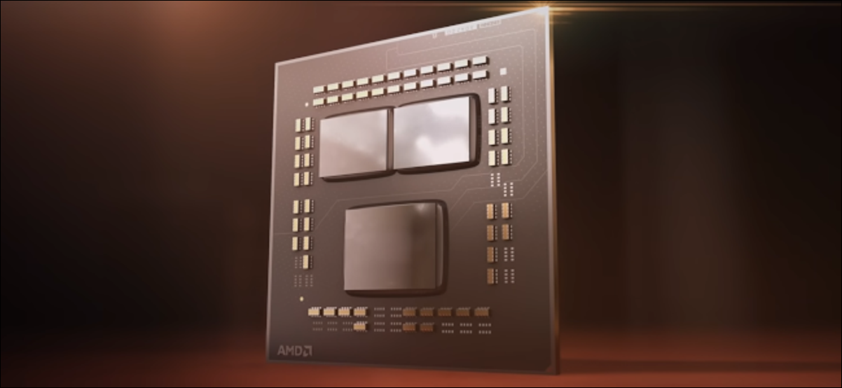 A computer render of the silicon on a Zen 3 CPU.