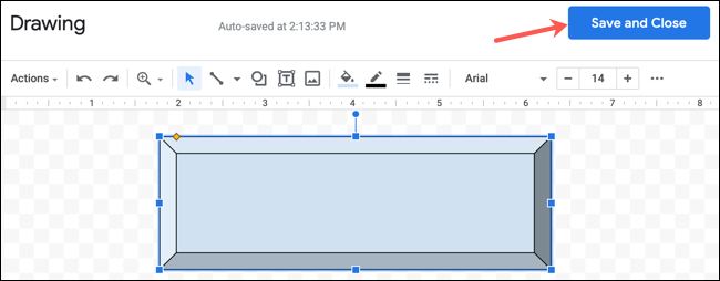 Haga clic en Guardar y cerrar para un dibujo en Google Docs