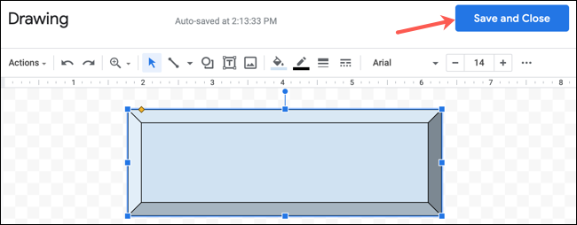 Click Save and Close for a Drawing in Google Docs