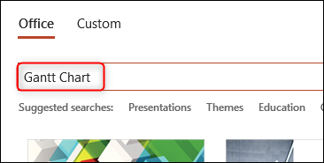 Search for Gantt chart in search box