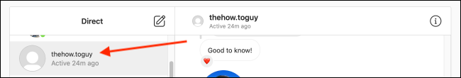Select a Conversation from Instagram on Web