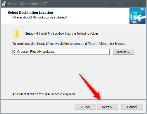 Select location and click next in installation wizard