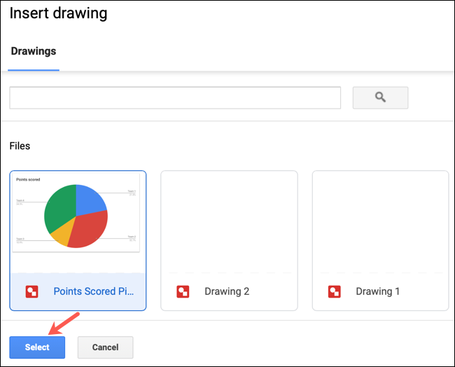 Select a Drawing and click Insert in Google Docs