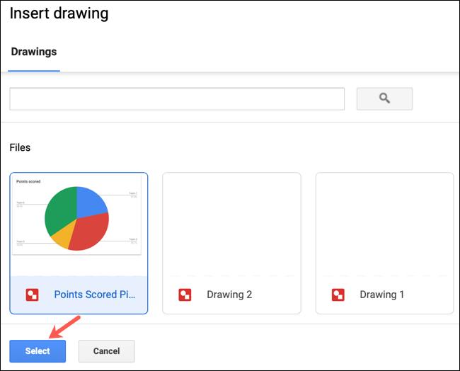 Seleccione un dibujo y haga clic en Insertar en Google Docs