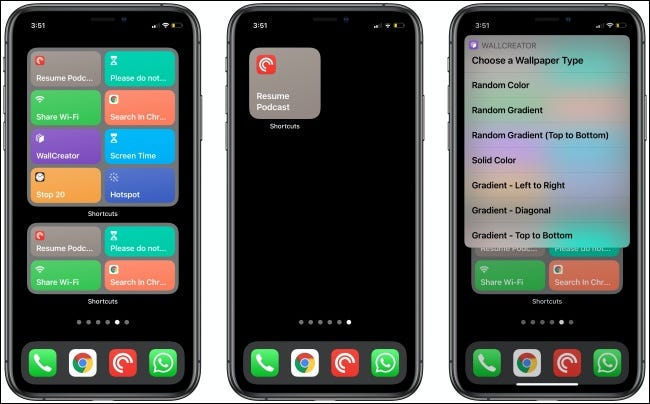 Shortcuts Widgets on three iPhones.
