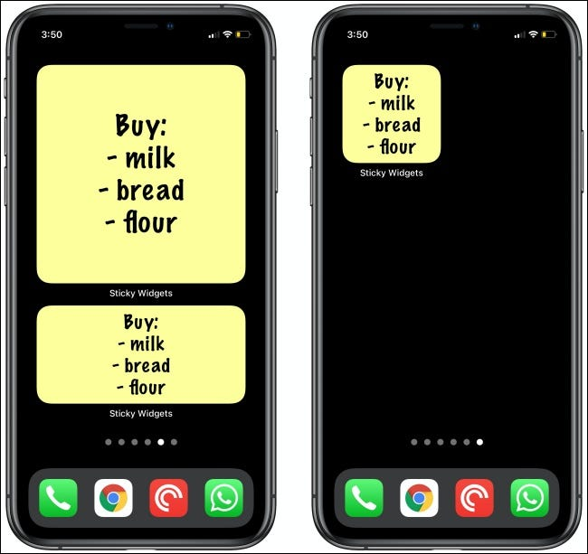 Grocery lists in Sticky Widgets for iPhone.