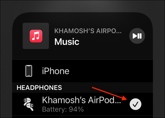 Switch to AirPods Pro from Control Center