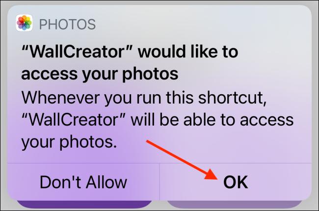 Toque Aceptar para permitir el acceso a las fotos