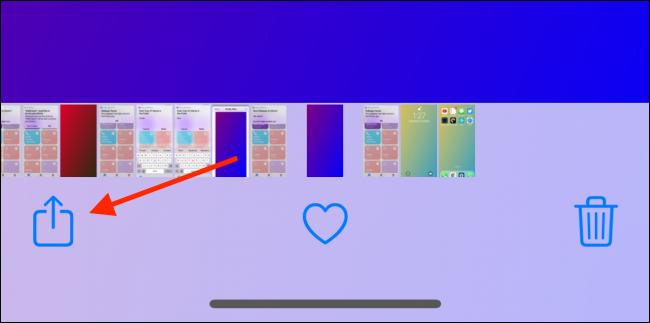 Toque Compartir desde la imagen del fondo de pantalla