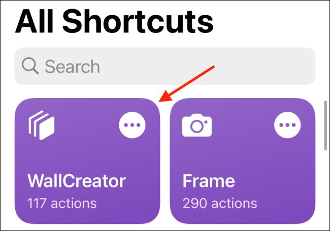 Tap WallCreator Shortcut