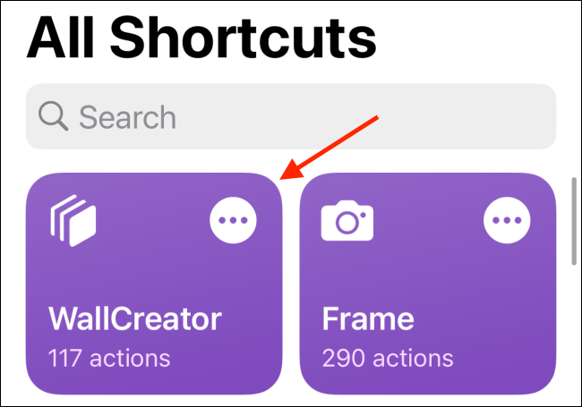 Tap WallCreator Shortcut