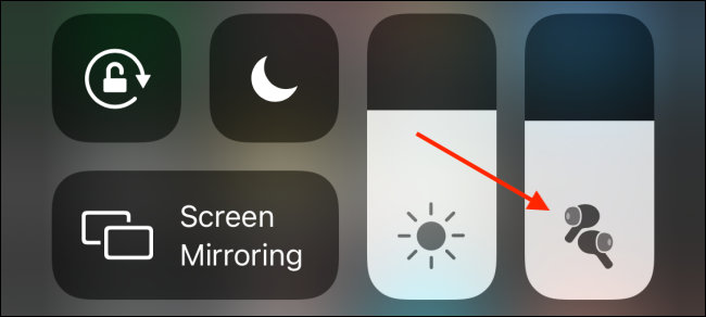 Tap and Hold The Volume Slider in Control Center