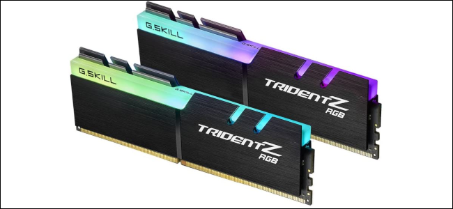 Two G.Skill Trident-Z RAMs with built-in RGB LEDs on top.
