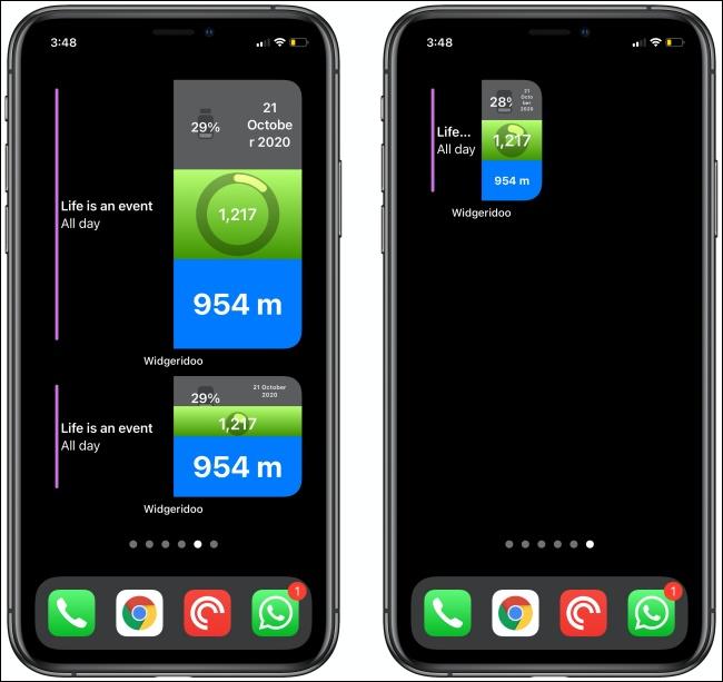 Due widget Widgeridoo su due iPhone.