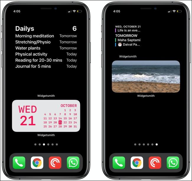 Due widget Widgetsmith su due iPhone.